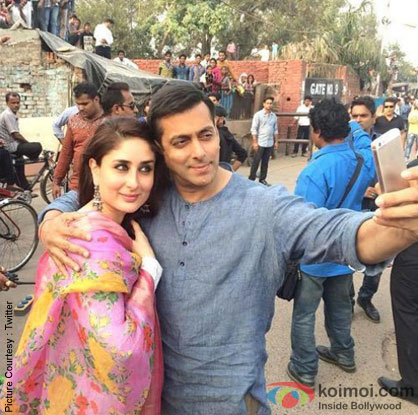 Kareena Kapoor and Salman khan on the sets of movie' Bajrangi Bhaijaan'