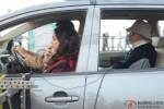 Deepika Padukone and Amitabh Bachchan during the shooting of movie 'Piku' Pic 1