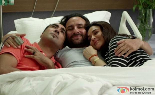 Ranvir Shorey, Saif Ali Khan and Preity Zinta in a still from movie 'Happy Ending'