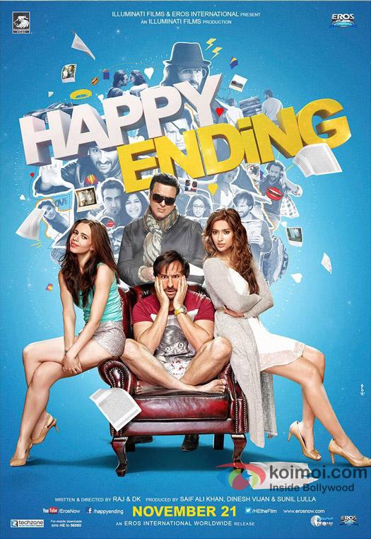 Kalki Koechlin, Govinda, Saif Ali Khan and Ileana DCruz in a 'Happy Ending' movie poster