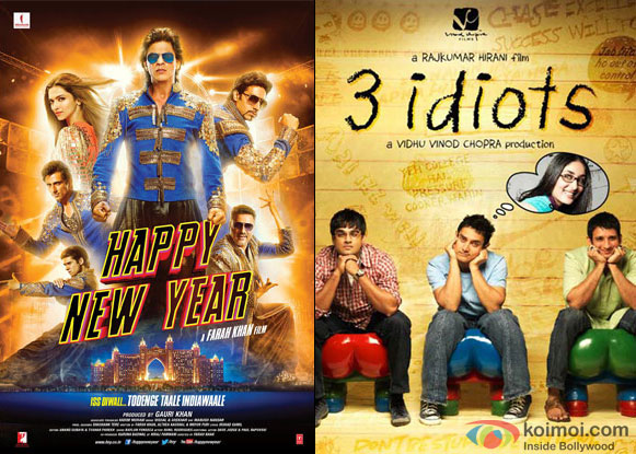 'Happy New Year' and '3 Idiots' Movie Posters