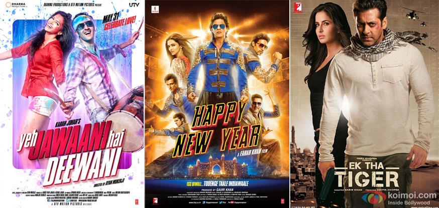 "'Yeh Jawaani Hai Deewani', 'Happy New Year' and ""Ek The Tiger' Movie Posters"