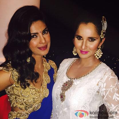 Priyanka Chopra and Sania Mirza during the Arpita Khan-Ayush Sharma's Wedding