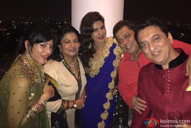 Priyanka Chopra, David Dhawan and Sajid Nadiadwala during the Arpita Khan-Ayush Sharma's Wedding