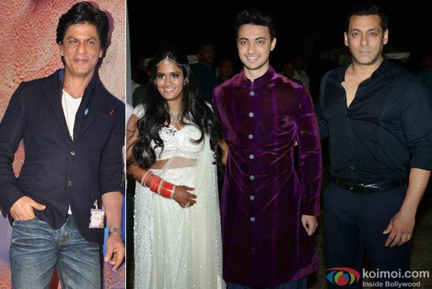 Shah Rukh Khan, Arpita Khan, Aayush Sharma and Salman Khan
