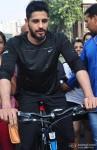 Sidharth Malhotra Cycles At Equal Street's, Bandra Pic 3