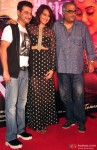 Sanjay Kapoor, Sonakshi Sinha and Boney Kapoor during the 'Radha Nachegi' song launch of movie 'Tevar'