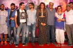 Remo DSouza, Wajid AliKaranvir Sharma, Sanjay Kapoor, Amit Ravindernath Sharma, Sonakshi Sinha, Boney Kapoor and Sajid Ali during the 'Radha Nachegi' song launch of movie 'Tevar'