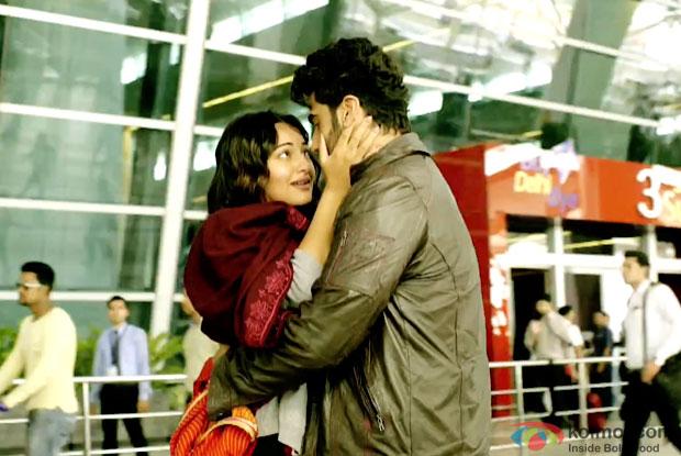 Sonakshi Sinha and Arjun Kapoor in a still from movie 'Tevar'