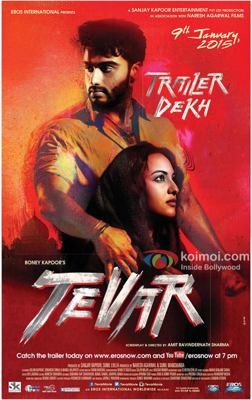 Arjun Kapoor and Sonakshi sinha in a 'Tevar' movie poster