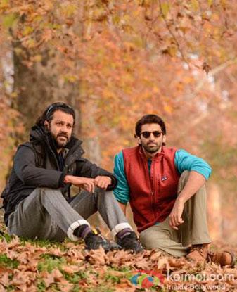 Abhishek Kapoor and Aditya Roy Kapoor on the sets of movie 'Fitoor'