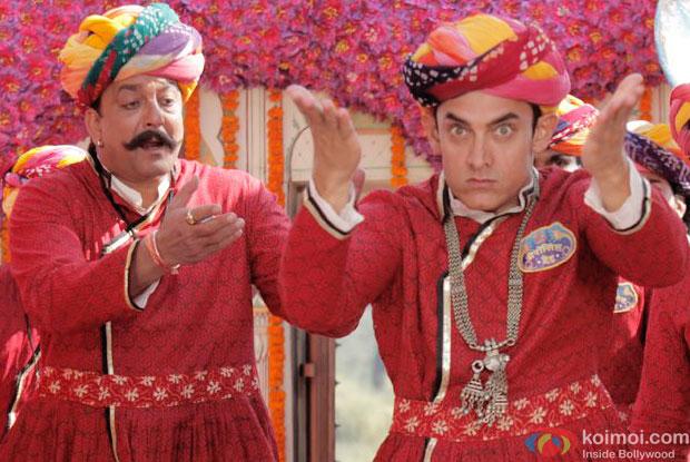 Sanjay Dutt and Aamir Khan in a still from movie 'PK'
