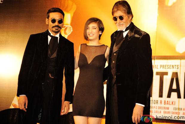 Dhanush, Akshara Haasan and Amitabh Bachchan at an event