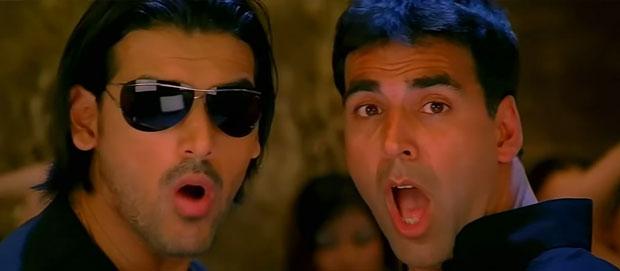 John Abraham and Akshay Kumar in a still from movie 'Garam Masala'