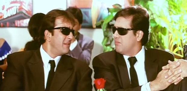 Sanjay Dutt and Govinda in a still from movie 'Haseena Maan Jayegi'