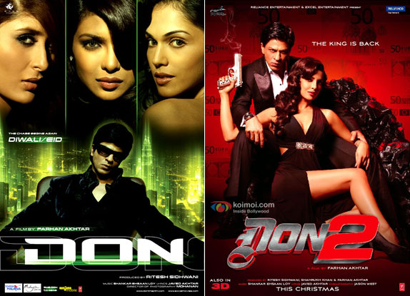 Don (2006) and Don 2 (2011) Movie Posters