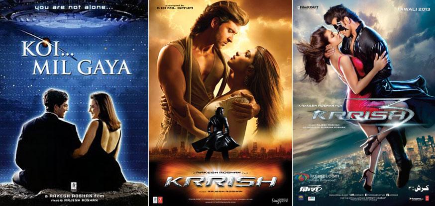 Koi... Mil Gaya (2003), Krrish (2006) and Krrish 3 (2013) Movie Posters