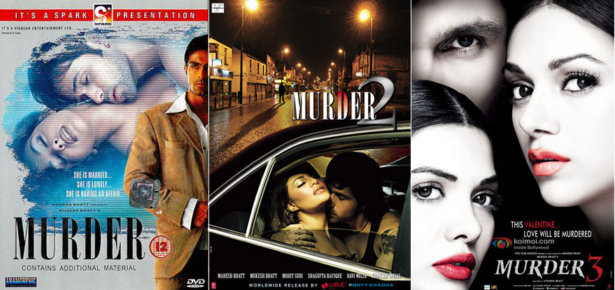 Murder (2004), Murder 2 (2011) and Murder 3 (2013) Movie Posters