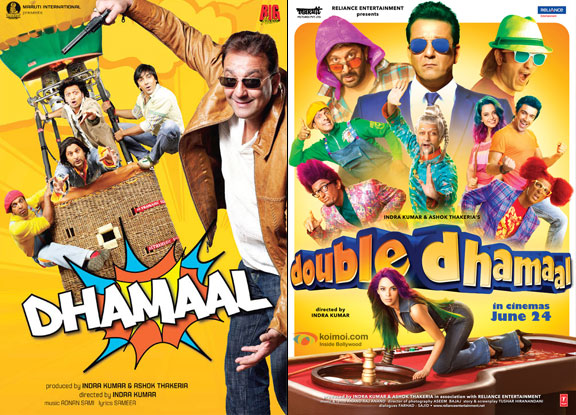 Dhamaal (2007) and Double Dhamaal (2011) Movie Posters