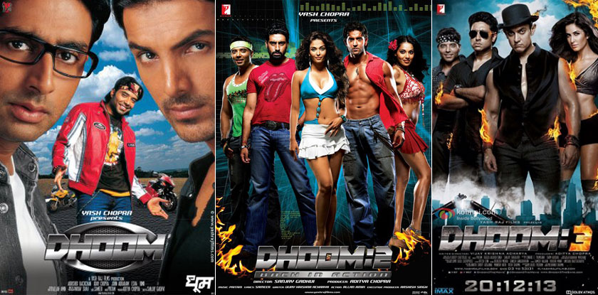 Dhoom (2004), Dhoom 2 (2006) and Dhoom 3 (2013) Movie Posters