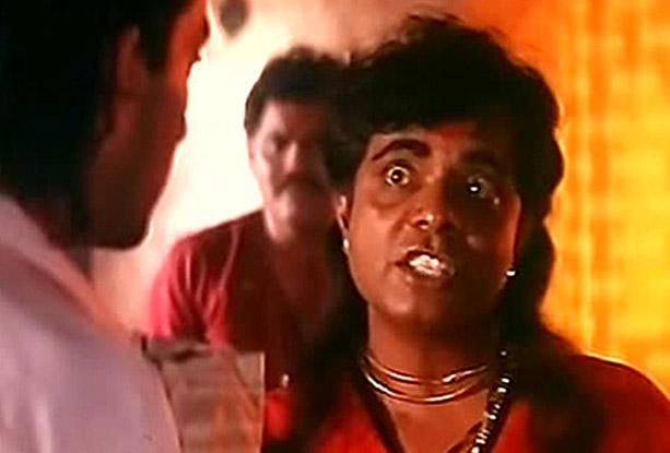 Sadashiv Amrapurkar as Maharani the 'eunuch' brothel madam in a still from movie 'Sadak (1991)'