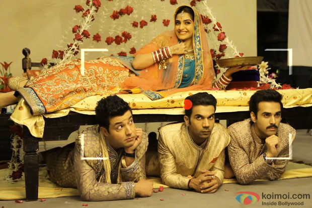 Sonam Kapoor, Varun Sharma, Rajkummar Rao and Pulkit Samrat in a still from movie 'Dolly Ki Doli'