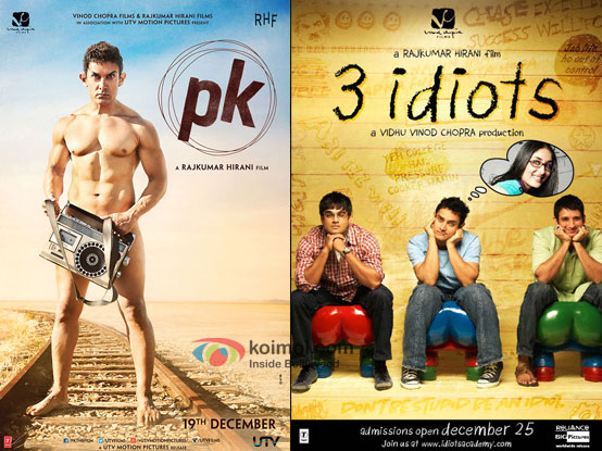 """PK' and ' 3 idiots' movie posters"