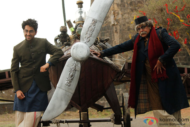 Ayushmann Khurrana and Mithun Chakraborty in a still from movie 'Hawaizaada'