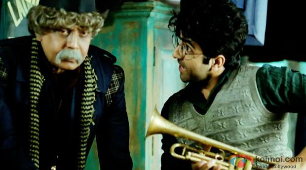 Mithun Chakraborty and Ayushmann Khurrana in a still from movie 'Hawaizaada'
