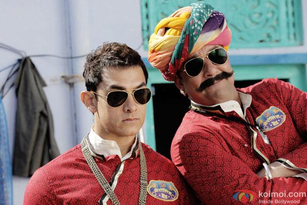 Aamir Khan and Sanjay Dutt  in astill from movie  'PK'