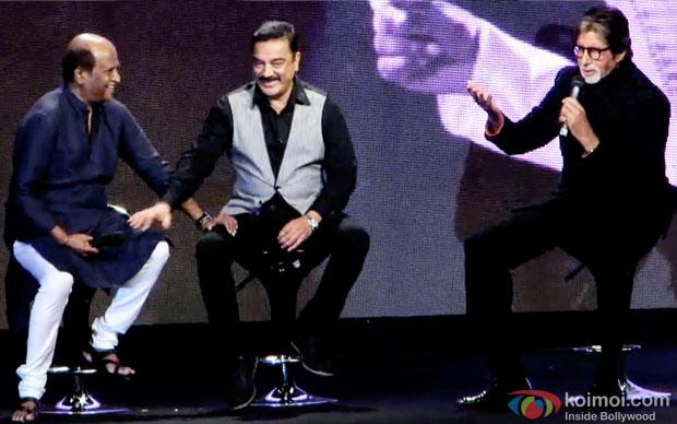 Rajinikanth, Kamal Hasan and Amitabh Bachchan at an event