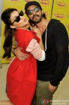 Jacqueline Fernandez and Arjun Rampal during the promotion of movie 'Roy' at Radio Mirchi Mumbai studio