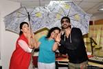 Jacqueline Fernandez and Arjun Rampal pose with RJ Prackriti during the promotion of movie 'Roy' at Radio Mirchi Mumbai studio
