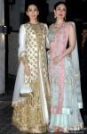 Karisma Kapoor and Kareena Kapoor Khan during the Soha Ali Khan - Kunal Khemmu's Wedding Party & Reception