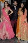 Amrita Arora, Shakeel Ladak and Arpita Khan during the Soha Ali Khan - Kunal Khemmu's Wedding Party & Reception