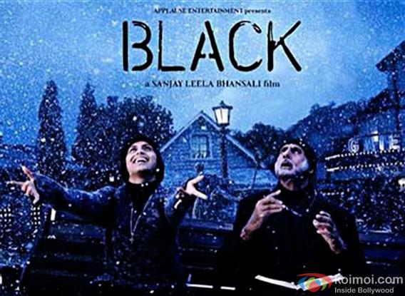 Rani Mukherjee and Amitabh Bachchan in a Black movie poster