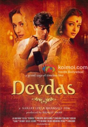 Madhuri Dixit, Shah Rukh Khan and Aishwarya Rai Bachchan in a Devdas movie poster