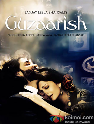 Hrithik Roshan and Aishwarya Rai Bachchan in a Guzaarish movie poster