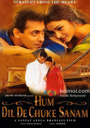 Salman Khan, Ajay Devgn and Aishwarya Rai Bachchan in a Hum Dil De Chuke Sanam movie poster