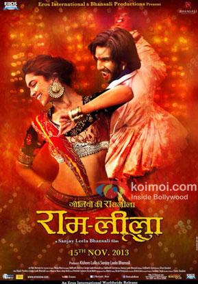 Deepika Padukone and Ranveer Singh in a RAM-LEELA movie poster
