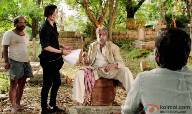 Akhshara Haasan, Amitabh Bachchan and Dhanush in a still from movie 'Shamitabh'