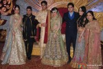 Divya Khosla Kumar, Bhushan Kumar, Khushali and Sudeshi Kumar during the Hitesh Rahlan and Tulsi Kumar's Sangeet Ceremony