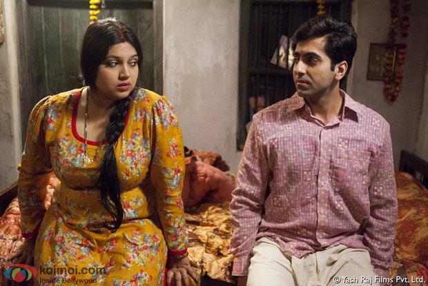 Bhumi Pednekar and Ayushmann Khurrana in a still from movie 'Dum Laga Ke Haisha'