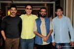 Farhan Akhtar, Vidhu Vinod Chopra, Dibakar Banerjee and Abhijat Joshi during the Guru Dutt's Film Screenplays Launch