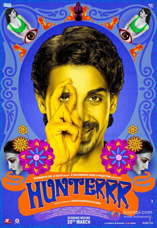 Gulshan Devaiah, Radhika Apte, Sai Tamhankar and Rachel D'souza starrer Hunterrr Movie Poster 1