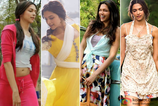 Deepika Padukone in a still from movie 'Happy New Year' and 'Finding Fanny'