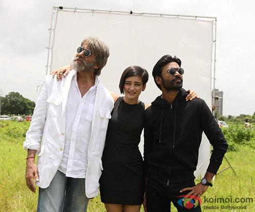 Amitabh Bachchan, Akshara Haasan and Dhanush in a still from movie 'Shamitabh'