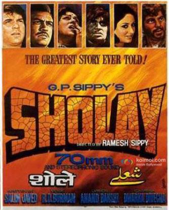 Dharmendra, Sanjeev Kumar, Hema Malini, Amitabh Bachchan, Jaya Bhaduri and Amjad Khan in a 'Sholay' movie poster