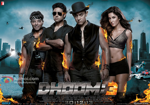 Uday Chopra, Abhishek Bachchan, Aamir Khan and Katrina Kaif in a 'Dhoom 3' movie poster