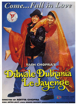 Shah Rukh Khan and Kajol in a still from 'Dilwale Dulhaniya Le Jayenge' movie poster